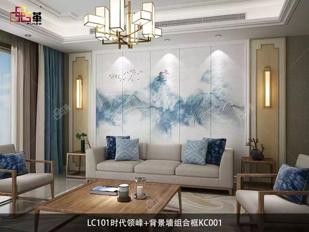 品革皮雕刺绣新中式风格背景墙东方之美