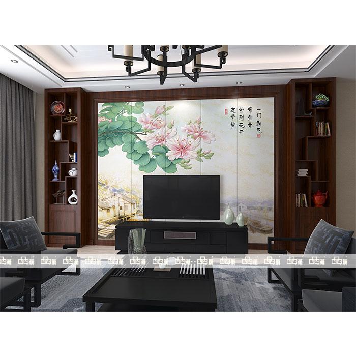 LC005江南春早-背景墙组合柜KC002