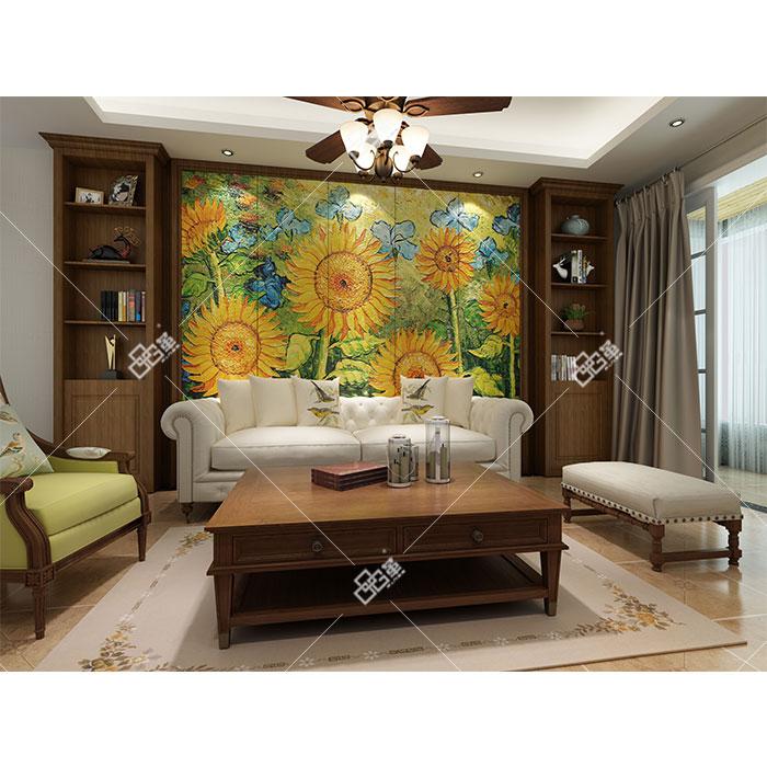 整体背景墙-LD015向日葵+背景墙组合柜KC001