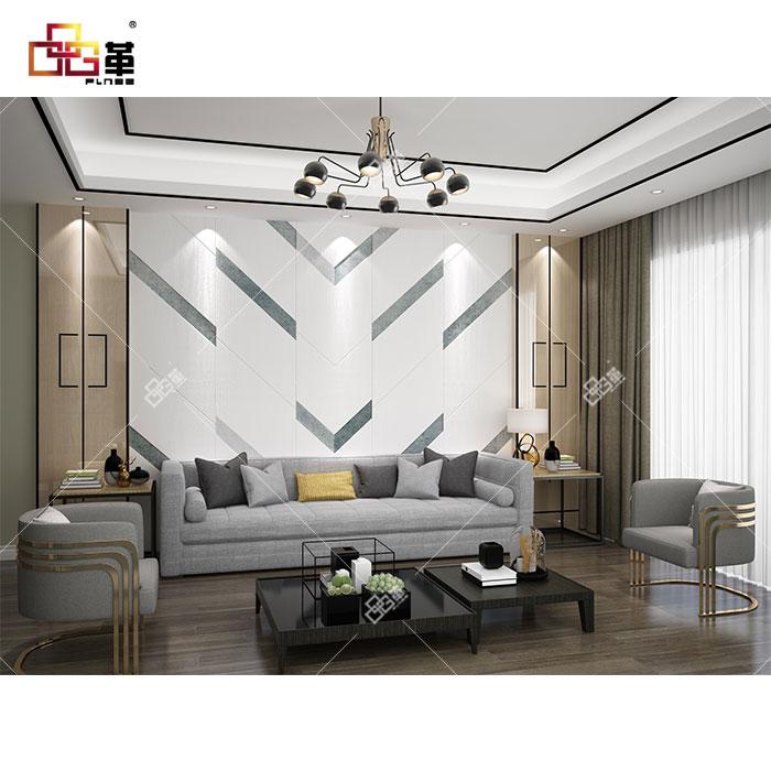 整体背景墙JEA18嘉华+背景墙组合框KC010(高光实木板镶合金)