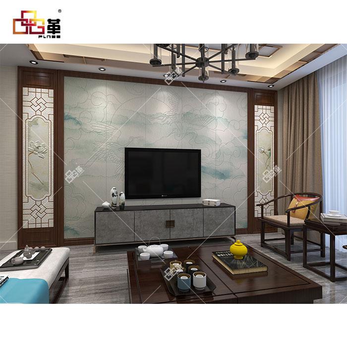 整体背景墙-JEB018仙鹤呈祥+背景墙组合框KB006