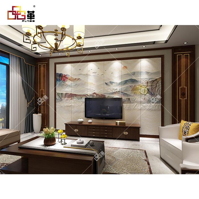 整体背景墙-LC090丹霞+背景墙组合框KA002