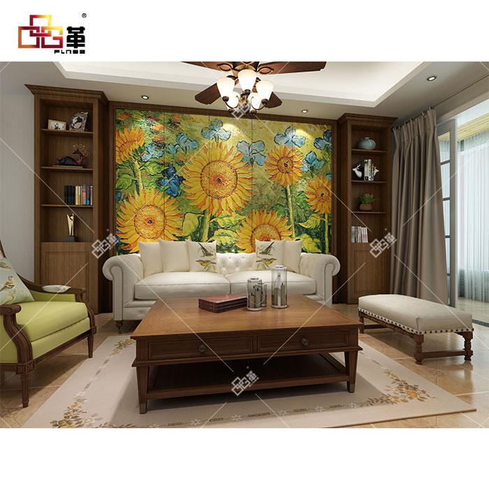 整体背景墙-LD015向日葵+背景墙组合柜GA001